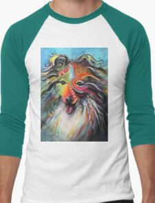 Boho Sheltie Men's Baseball ¾ T-Shirt