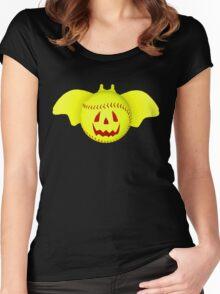 Novelty Halloween Softball Bat Mashup Women's Fitted Scoop T-Shirt