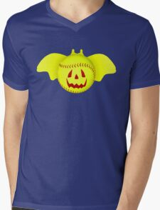 Novelty Halloween Softball Bat Mashup Mens V-Neck T-Shirt