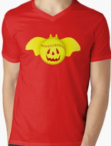 Novelty Halloween Softball Bat Mashup Mens V-Neck T-Shirt