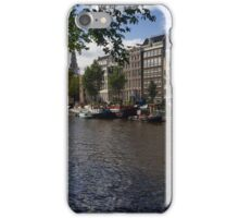 Panoramic view on Houseboats and Canal Houses in Amsterdam iPhone Case/Skin