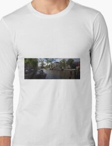 Panoramic view on Houseboats and Canal Houses in Amsterdam Long Sleeve T-Shirt