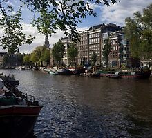 Panoramic view on Houseboats and Canal Houses in Amsterdam by Yevhenii Volchenkov