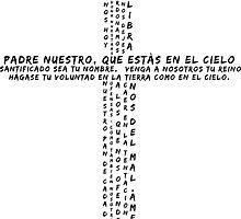 Padre Nuestro Oracion Prayer Latino Clear White Caligramme by Bebichic