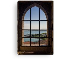 Superior view on Sirmione and Lake Garda in Italy Canvas Print