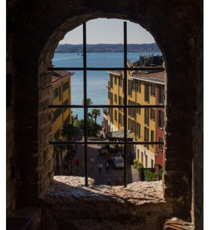 View on Lake Garda and Sirmione Old city in Italy Sticker