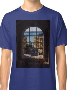 View on Lake Garda and Sirmione Old city in Italy Classic T-Shirt