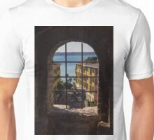 View on Lake Garda and Sirmione Old city in Italy Unisex T-Shirt