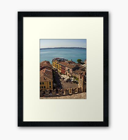 Lake Garda and Sirmione Old city in Italy Framed Print