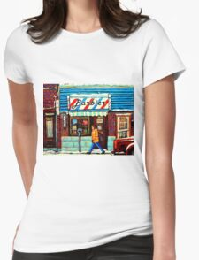 BARBERSOP PAINTING MONTREAL WINTER SCENE CANADIAN ART  T-Shirt