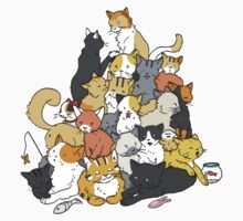 Neko Atsume Pile One Piece - Short Sleeve