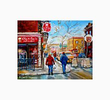 FRENCH BAKERY MONTREAL WINTER SCENE PAINTING CANADIAN ART Unisex T-Shirt