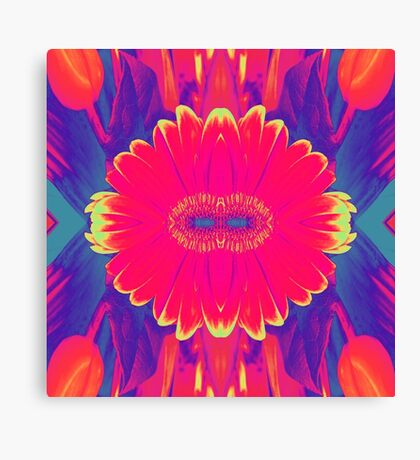 Abstract Flower Collage Colour Burst Canvas Print