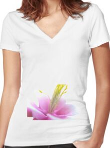 Tilted Pink Flower (isolated) Women's Fitted V-Neck T-Shirt