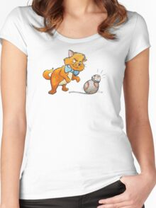 CAT CHASING BB8 Women's Fitted Scoop T-Shirt