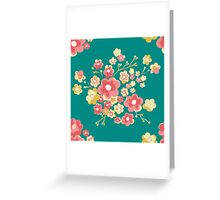 Painterly Flowers, green. Greeting Card