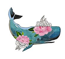 Blue cachalot whale with pink flowers Photographic Print