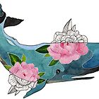Blue cachalot whale with pink flowers by BeeHappyShop