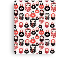 funny pattern with dolls Canvas Print