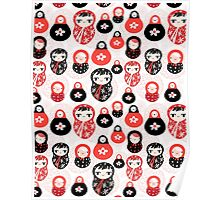 funny pattern with dolls Poster