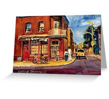 CANADIAN PAINTINGS RUE FAIRMOUNT MONTREAL STREETS  Greeting Card