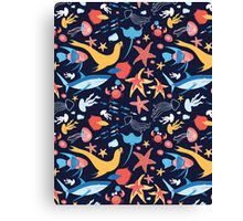 pattern with stingray and fish Canvas Print