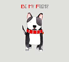 Be My Friend? - Black and White Dog with Big Red Collar Unisex T-Shirt