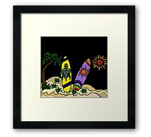 Fun Cool Surfing Surfboard Art with Turtles and Sun Framed Print