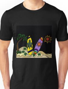 Fun Cool Surfing Surfboard Art with Turtles and Sun Unisex T-Shirt