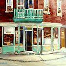 VINTAGE BAKERY MONTREAL CORNER STORE CANADIAN ART by Carole  Spandau