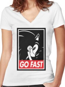 GO FAST Women's Fitted V-Neck T-Shirt