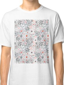 Graphic floral pattern with birds in love Classic T-Shirt