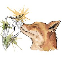 Fox with a flower  Photographic Print