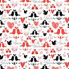 holiday pattern with love birds and hearts by Tanor