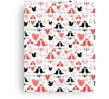 holiday pattern with love birds and hearts Canvas Print