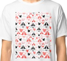 holiday pattern with love birds and hearts Classic T-Shirt