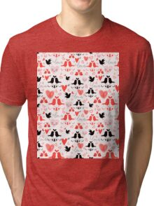 holiday pattern with love birds and hearts Tri-blend T-Shirt