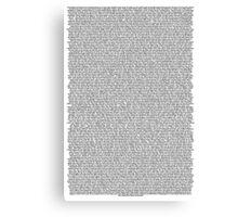 Bee Movie Script White Canvas Print