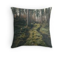 Boy walking through mystic forest landscape photography Throw Pillow