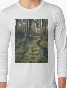 Boy walking through mystic forest landscape photography Long Sleeve T-Shirt