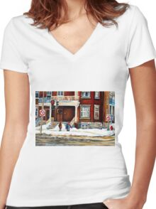 MONTREAL WINTER WALK AFTER THE SNOWSTORM Women's Fitted V-Neck T-Shirt