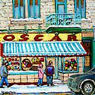 THE CANDY STORE MONTREAL WINTER CITY SCENE CANADIAAN ART by Carole  Spandau