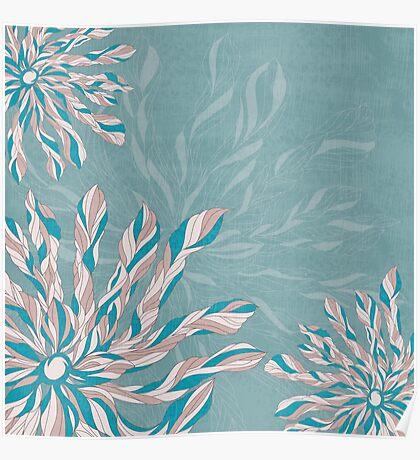 Flower Power Teal/Pink Poster