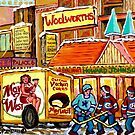 DOWNTOWN MONTREAL VINTAGE SCENE HOWARD JOHNSON'S RESTAURANT by Carole  Spandau
