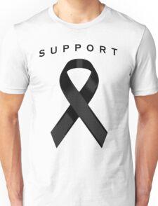 Black Awareness Ribbon of Support Unisex T-Shirt