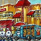 MONTREAL KOSHER PIZZA PITA HOCKEY ART CANADIAN PAINTING by Carole  Spandau