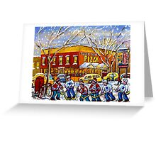 WINTER CITY SCENE TASTY FOOD PIZZA MONTREAL SNOWY PAINTING Greeting Card