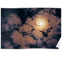 Full moon through purple clouds Poster