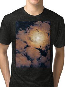 Full moon through purple clouds Tri-blend T-Shirt