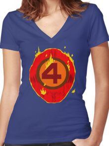 LAZY COSPLAY: Fantastic Four's Johnny Storm Women's Fitted V-Neck T-Shirt